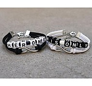 Classic Simple His Her Black White Charm Bracelets(2 Pcs)