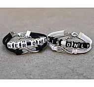 clássicas simples pelo seu preto pulseiras brancas (2 peças)