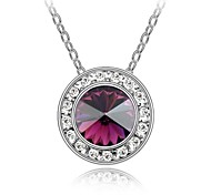Longing for Star Popular Short Necklace Plated with 18K True Platinum Amethyst Crystallized Austrian Crystal Rhinestone