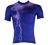 PaladinSport Light Men's Spring and Summer Style 100% Polyester Dark Blue Short Sleeved Cycling Jersey