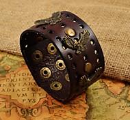 Fashion Men's Stainless Steel Lanneret Rivet Wide PU Leather Bracelets