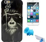 обезьяна картина курить ТПУ мягкой случае с подставкой и защитной пленкой для iPhone 6 / 6с