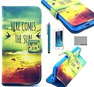 patrón de sol pájaro cuero de la PU caso de cuerpo completo de coco Fun® con la película, de pie y de la aguja para el iphone 5 / 5s