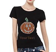 strass personalizzato t-shirt modello di halloween zucca cotone maniche corte delle donne