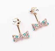 Korean Version of Sweet Temperament Bow Diamond Earrings