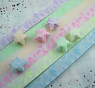 Fluorescent Effect Musical Note Pattern Lucky Star Origami Materials(30 Pages/1 Color/Package Random Color)