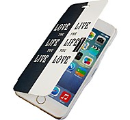 Black and White Letter Magnetic Flip Full Body Case with Hole for iPhone 6