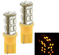 T10 0.42W 170LM 16x3020 SMD LED Yellow Light Car Width / Door lamp / License Plate Light (2 PCS / 12V)