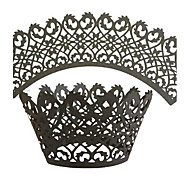 12pcs Black Laser Cut Lace Cupcake Wrappers Liners Muffin Cases Christening Baby Shower Wedding Party Cake Decoartion