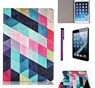 celosía patrón multicolor caja de cuero de la PU con el protector de pantalla y el stylus para ipad Mini 3/2/1