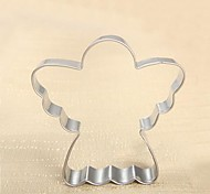 Christmas Theme Angel Shape Cookie Cutter, L 7.4cm x W 7.3cm x H 2cm, Stainless Steel