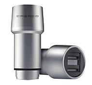 crerco thor t1 4.8a todo el metal&dual usb&carga rápida&martillo de la seguridad&cargadores de coche inteligentes (plata)
