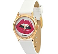 Personalized Mother's Day Gift Women's Watch Citizen Movement Red Lip Gold Case White Genuine Leather Belt