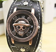 Men's Skull Case Leather Band Quartz Fashion Watch