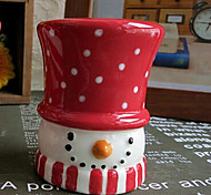 Christmas Dot Printed Snowman Candle Holder ,Ceramic