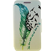 Quill-pen Design Pattern PU Leather Full Body Cover with Stand for Nokia Lumia 520