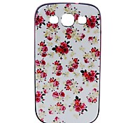 2-in-1 White Flower Pattern TPU Back Cover with PC Bumper Shockproof Soft Case for Samsung Galaxy S3 I9300