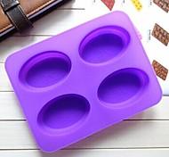 4 agujero del molde de chocolate jalea molde de pastel forma de elipse hielo, silicona 22.3 × 17 × 2 cm (8,8 x 6,7 x 0,8 pulgadas)