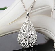 Nice 925 Silver Plated Waterdrop Hollow Necklace Pendant
