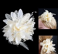 Netz Peral Blumenmuster Brosche / Haarnadel beige (1pc)