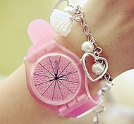 Women's Round Dial Rubber Band Fashion Quartz Watch (Assorted Colors)