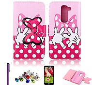 Pink and Red Color Bowknot Pattern PU Leather Case with Screen Protector,Stylus and Dust Plug for LG G2 mini