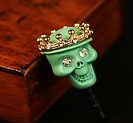 rhinestone cráneo patrón 3.5mm enchufe del anti-polvo para el iphone y otros 6 (colores aleatorios)