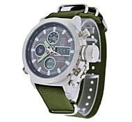 Men's Fashion Green Canvas Strap Multifunctional Digital Quartz Military Wristwatches Sports Watches Wrist Watch Cool Watch Unique Watch