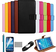 COCO FUN® Ultra Slim Genuine Leather Case with Film,Cable and Stylus for Samsung Galaxy Mega 6.3 i9200(Assorted Colors)