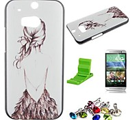 Beautiful Girl' Back Pattern PC Hard Case with Screen Protector,Dust Plug and Stand for HTC One M8