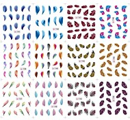 2D Water Transfer Feather Pattern Nail Art Stickers Decals