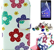 Flower Pattern PU Leahter Case with Film and Dust Plug for Sony Xperia Z3 Compact / Z3 mini