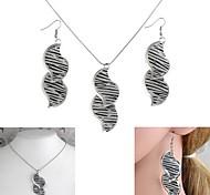 Leopard Leaf S-Shaped Matte Pendent  Necklace&Earrings Set White K (1Set)