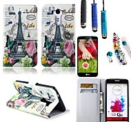 Rose Tower Pattern PU Leather with Card Holder with Stylus, Protective Film and Diamond Dust Plug for LG G3