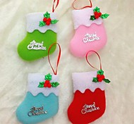 10CM Christmas Socks for Christmas Party Decoration 6pcs(Random Colour)
