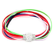 Fashion Jewelry PU Multilayer Leather Bracelet With Magnet Clasp