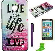caso duro del pc giunte del mare vivono la vita con la protezione dello schermo, stilo e stand per Nokia Lumia 630/635