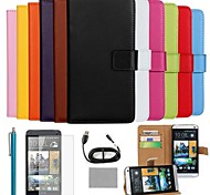 COCO FUN® Luxury Ultra Slim Solid Color Genuine Leather Case with Screen Protector,Cable and Stylus for HTC One M7
