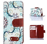Blue Decorative Design Pattern PU Leather Case for iPhone 4/4S