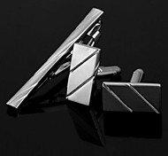 New Elegant Men's Set Tie Clips and Cufflinks Brushed Silver Party Gift