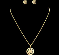 Fashion Four Leaf Clover Shape Golden Stainless Steel Jewelry Sets(1 Set)