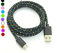 2M 6.6FT Braided Fabric Micro USB Sync Adapter Charger Cable for Android Phone(Assorted Color)