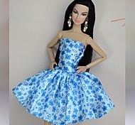 Barbie Doll Blue Floral Satin Fashion Dress