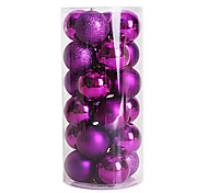 24pcs nochi 6 centímetros bolas de natal bola natal luz bola banhado enfeites de natal bola (cores sortidas)