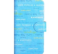 Text and Blue Days Pattern PU Mobile Phone Holster With Card Slot for iPhone 6