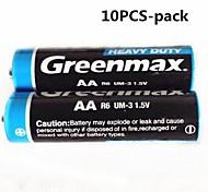 10pcs Greenmax 1.5v aa batteria zinco carbone -manganese