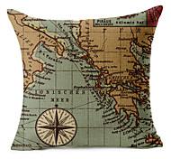 mapa padrão de algodão / linho fronha decorativo