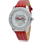 Women's Round Owl Theme Dial Rhinestone Dress Quartz Watch PU Leather Strap Leisure Watches (Assorted Colors)