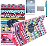 Coco fun® padrão tapete vermelho tribal caso estande pu tampa de couro com filme e stylus para samsung galaxy tab 4 T330