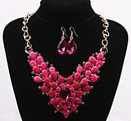 z&x® style européen collier déclaration luxueux et boucles d'oreilles (5 options de couleurs: rouge, vert, bleu, noir, rose)